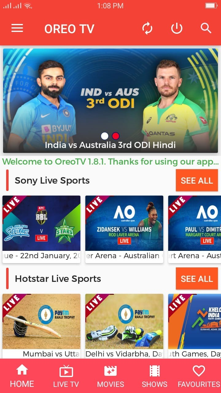 Oreo TV Live Sports Channel