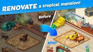 Hawaii match 3 mania home design & matching puzzle mod apk android 1.15.1500 screenshot